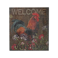 Welcome Cockrel Wood Tone Wall Décor