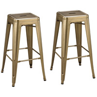 Sterling 3129-1140/S2 Acento 30 inch Antique Gold Stool, Set of 2