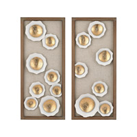 Splat Gold & White & Natural Wood Tone Wall Décor