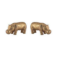Signature Gold Leaf Hippo Sculptures