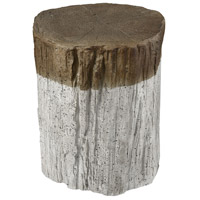 Sutters Fort Whitewash and Natural Bark Stool Home Decor