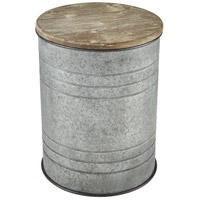 Sterling 3138-412 Cannes 16 inch Galvanized Steel and Wood Tone Accent Table
