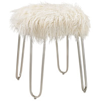 Signature White Faux Fur With Silver Stool Home Decor