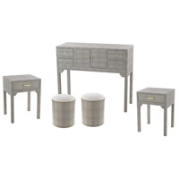 Sands Point Grey Faux Shagreen Furniture Set, 5 Piece, 6 Drawer