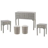 Sterling 3169-026/S5 Sands Point Grey Faux Shagreen Furniture Set 5 Piece 6 Drawer