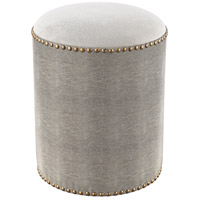 Sands Point Grey Faux Shagreen Round Bench