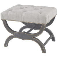 Arnaz Aged Black, Grey Linen Bench Home Decor