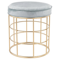 Sterling Beverly Glen Accent Stool in Gold, Duck Egg Blue 3169-032