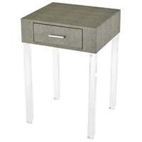 Monaco-Ville 16 inch Grey Faux Shagreen And Clear Acrylic Accent Table Home Decor