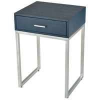 Les Revoires 16 inch Navy Faux Shagreen With Silver Side Table Home Decor