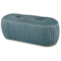 Bonnie Duck Egg Blue Velvet And Silver Bench Home Decor