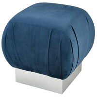 Zanzibar Navy Velvet With Silver Stool Home Decor