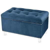 Blue Oyster Navy Velvet with Acrylic And Silver Ottoman