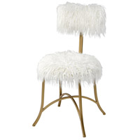 Nazareth White Faux Fur/Gold Chair