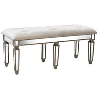 Jules Washed Wood, Clear Mirror Bench Home Decor