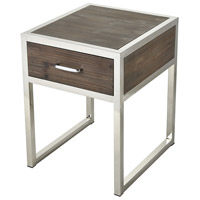Sterling 3183-026 Beefcake 21 X 18 inch Walnut and Stainless Steel Accent Table