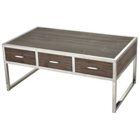 Sterling 3183-027 Beefcake 42 X 24 inch Walnut and Stainless Steel Coffee Table