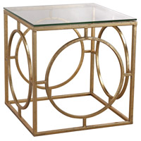 Sterling 3200-037 Signature 17 X 16 inch Gold Leaf & Clear Side Table