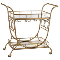 Signature Gold Leaf & Clear Bar Cart