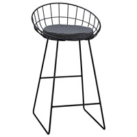 Sterling Orson Stool in Black, Grey Linen 3200-077
