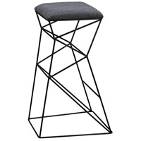 Sterling Kaspar Stool in Black, Grey Linen 3200-078