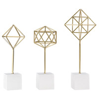 Theorem Soft Gold, White Decorative Stands, Set of 3