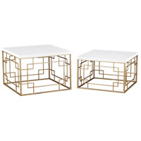 Sterling 3200-105/S2 Sugar City 24 X 24 inch Soft Gold and White Side Table