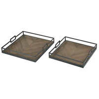 Circa Hazelnut And Charcoal Trays, Set of 2
