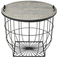 State Fair 22 inch Black With Grey Wash Accent Table Home Decor