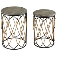 Roadshow 17 inch Sand Blasted Hazelnut And Rust Accent Tables Home Decor, Set of 2