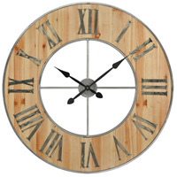 Foxhollow Natural Oak Stain and Raw Steel Wall Clock