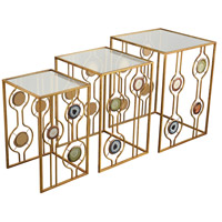 Sterling 3206-007/S3 Magna Graecia 24 X 18 inch Gold/Printed Agate Accent Table, Nested