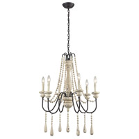 Sommieres 6 Light 25 inch Antique French Cream With Dark Bronze Chandelier Ceiling Light