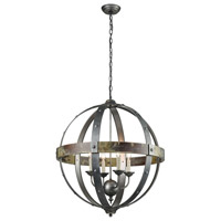 Modern Prometheus 4 Light 27 inch Burnt Oak With Antique And Pewter Chandelier Ceiling Light