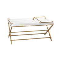 White And Gold 48 X 26 inch Gloss White & Gold Table Home Decor