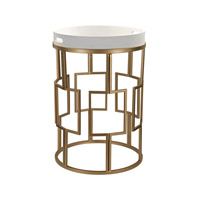 White And Gold 17 X 17 inch Gloss White & Gold Table Home Decor