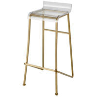 Hyperion 34 inch Aged Gold and Clear Bar Stool