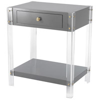 Sterling 351-10272 Gothenburg 24 X 21 inch Grey, Clear Side Table, 1 Drawer