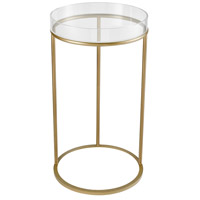 Sterling 351-10287 Hyperion 16 inch Aged Gold/Clear Accent Table, Round
