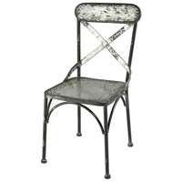 Cross Bronx Galvanized Steel And Black Antique Accent Chair