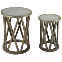 Klad 18 inch Salvaged Grey Oak With Galvanized Steel Accent Tables Home Decor, Set of 2