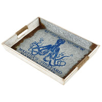 Vineyard Ferry White and Galvanized Steel with Blue Tray, Octopus