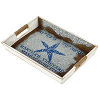 Sterling 351-10581 Vineyard Ferry White and Galvanized Steel with Blue Tray, Starfish