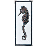 Rock Harbor White Enamel and Navy Enamel Wall Art, Seahorse