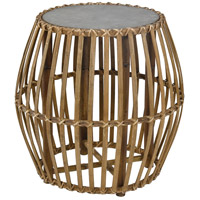 Sterling 351-10736 Lion Tamer 21 inch Natural Rattan with Galvanized Metal Accent Table
