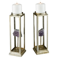 Ekaterina Silver and Purple Geode Candle Holder