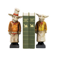 Sterling Industries Pair Chef Pig Bookends Decorative Accessory in Painted 4-303300