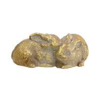 Twin Bunnies Gold Statue