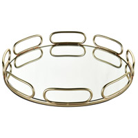 Chatelaine Gold Metal And Clear Mirror Tray