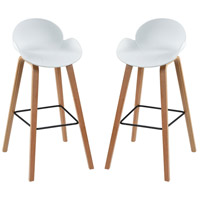 Sterling 4210-008/S2 Ladies Mile 35 inch White and Natural Wood Tone Bar Stool, Set of 2